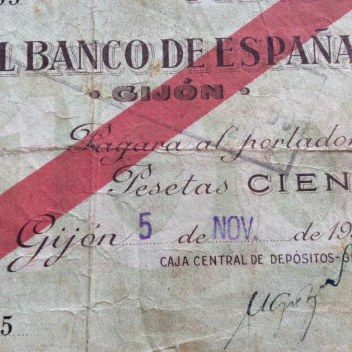 100 PESETAS 1936 - BANCO DE ESPAÑA GIJÓN  [2]