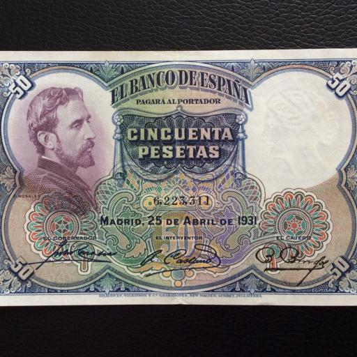 50 PESETAS 1931 - ROSALES - II REPUBLICA