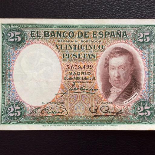 25 PESETAS 1931 - VICENTE LÓPEZ