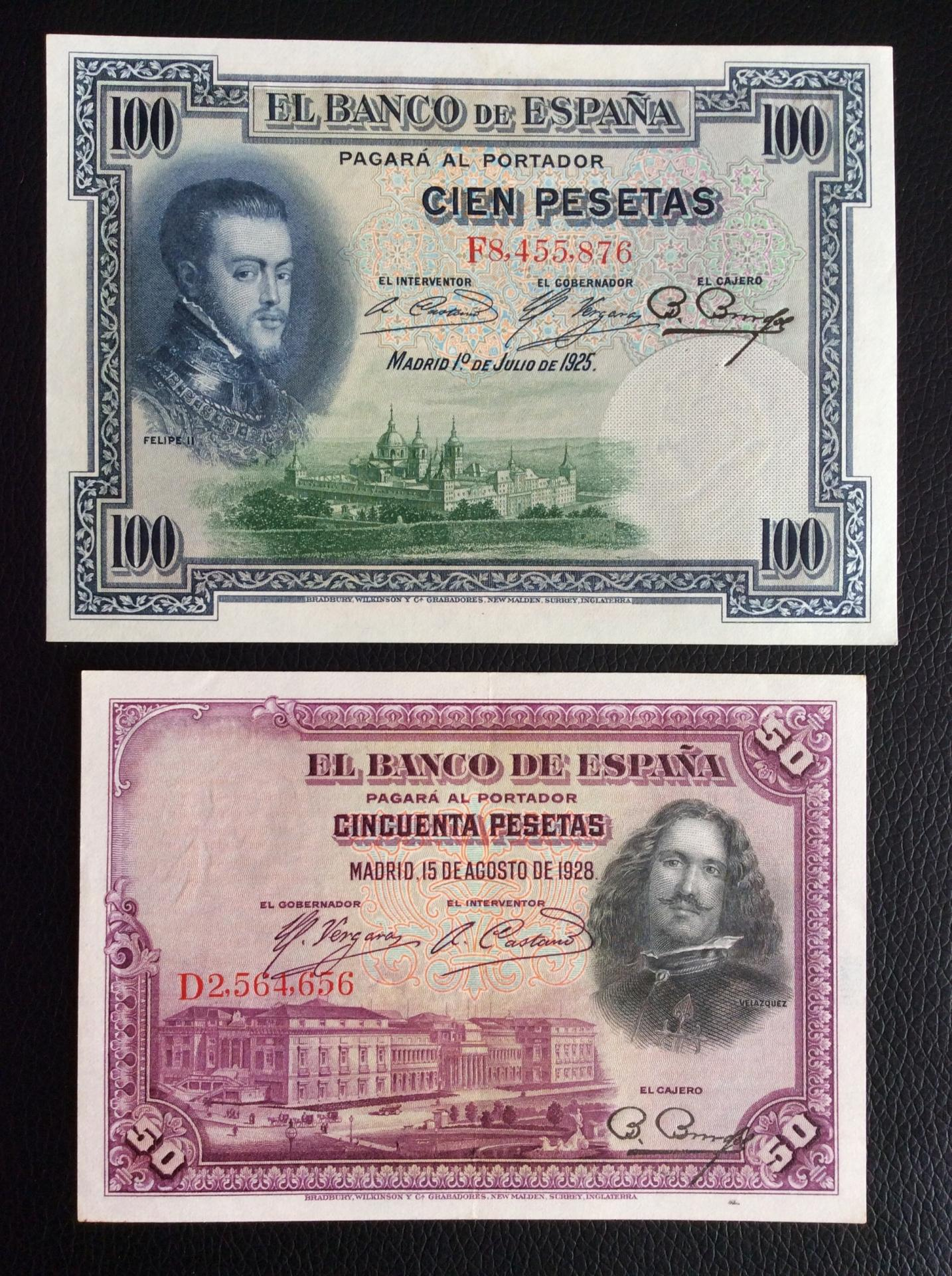 LOTE 100 PESETAS 1925 + 50 PESETAS 1928