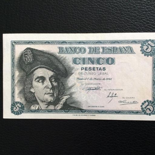 5 PESETAS 1948 - ELCANO - PLANCHA