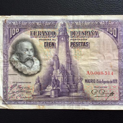 100 PESETAS 1928 - NÚMERO MUY BAJO - CERVANTES  [0]