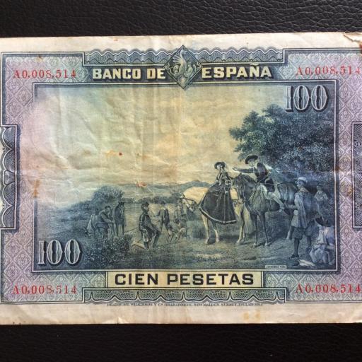100 PESETAS 1928 - NÚMERO MUY BAJO - CERVANTES  [1]