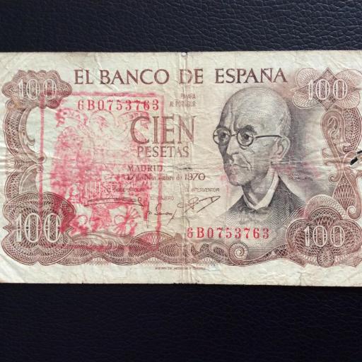 100 PESETAS 1970 - SELLO ROJO AGUILA DE SAN JUAN