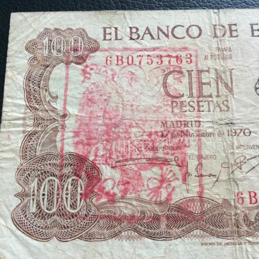 100 PESETAS 1970 - SELLO ROJO AGUILA DE SAN JUAN  [2]