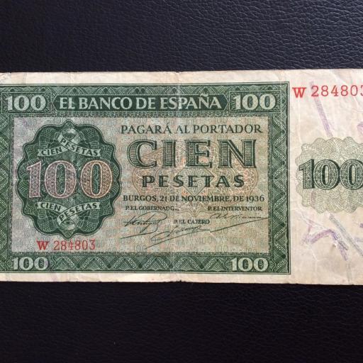 100 PESETAS 1936 - BURGOS - GUERRA CIVIL ESPAÑOLA