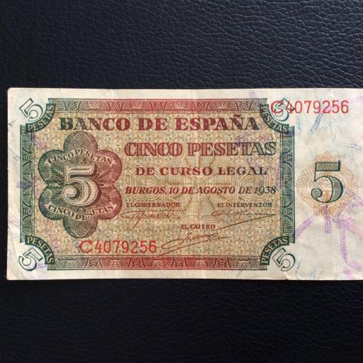 5 PESETAS 1938 - BURGOS - GUERRA CIVIL ESPAÑOLA