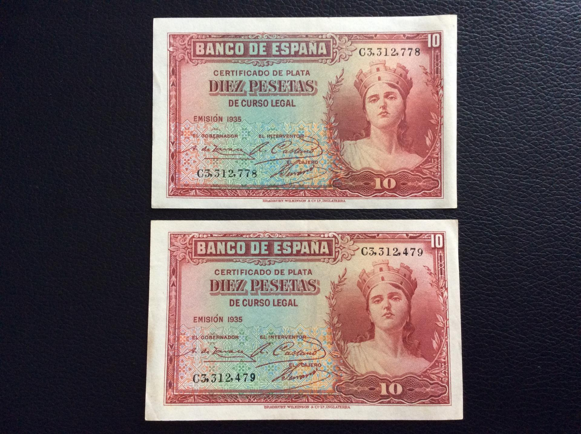 10 PESETAS 1935 - PAREJA CORRELATIVA - REPUBLICA ESPAÑOLA - SC-
