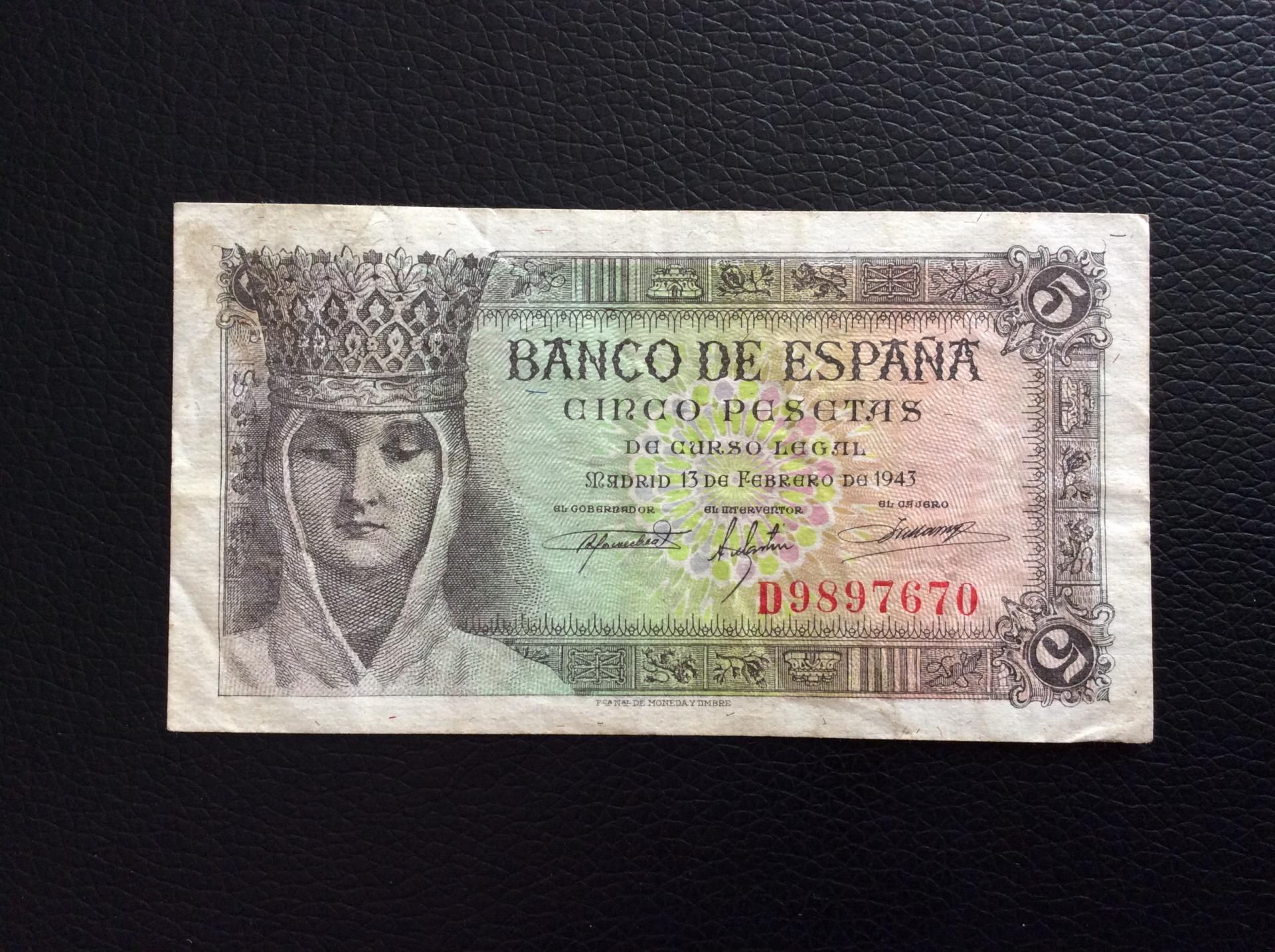 5 PESETAS 1943 - ISABEL LA CATÓLICA