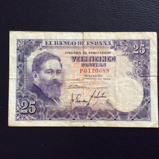 25 PESETAS 1954 - ESCASA SERIE P - ISAAC ALBENIZ