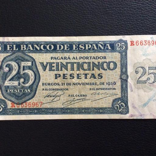 25 PESETAS 1936 - BURGOS - GUERRA CIVIL