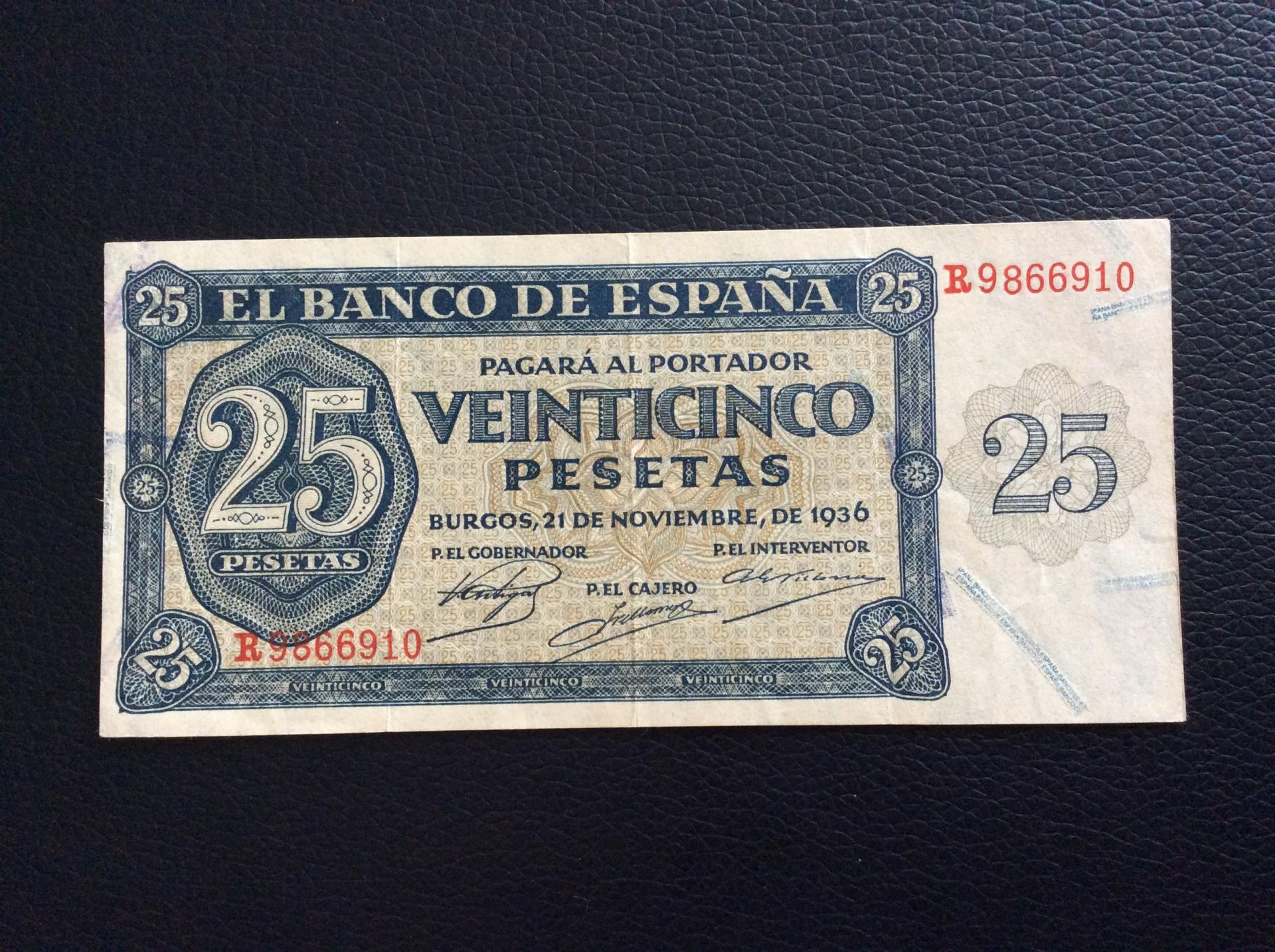 25 PESETAS 1936 - GUERRA CIVIL ESPAÑOLA - BURGOS