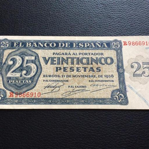 25 PESETAS 1936 - GUERRA CIVIL ESPAÑOLA - BURGOS  [2]