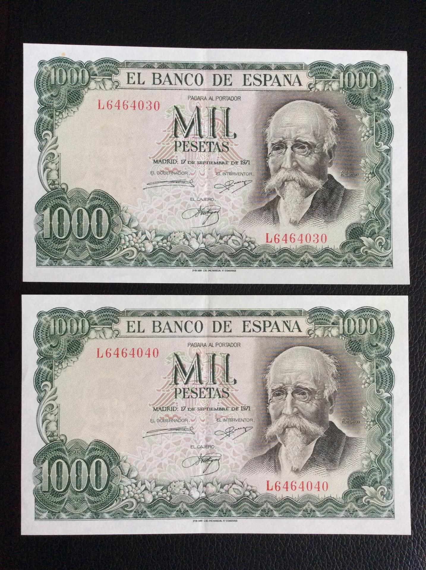 1000 PESETAS 1971 - JOSÉ ECHEGARAY - PAREJA