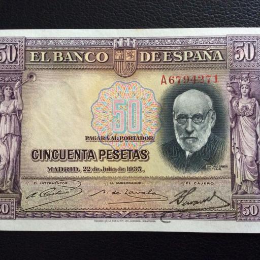 50 PESETAS 1935 - SERIE A - SIN CIRCULAR - RAMÓN Y CAJAL