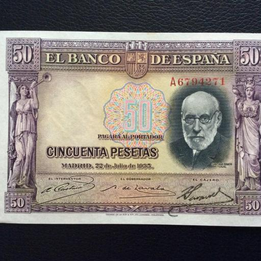 50 PESETAS 1935 - SERIE A - SIN CIRCULAR - RAMÓN Y CAJAL  [1]