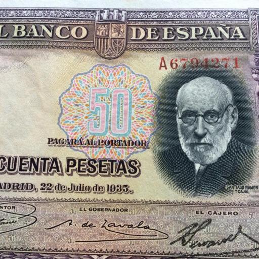 50 PESETAS 1935 - SERIE A - SIN CIRCULAR - RAMÓN Y CAJAL  [3]