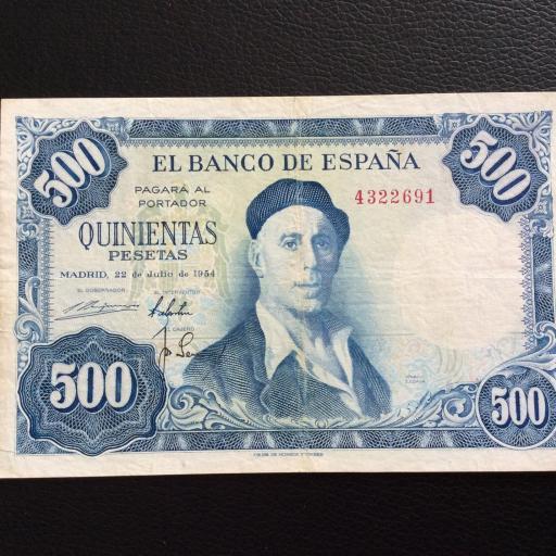 500 PESETAS 1954 - ZULOAGA - SIN SERIE