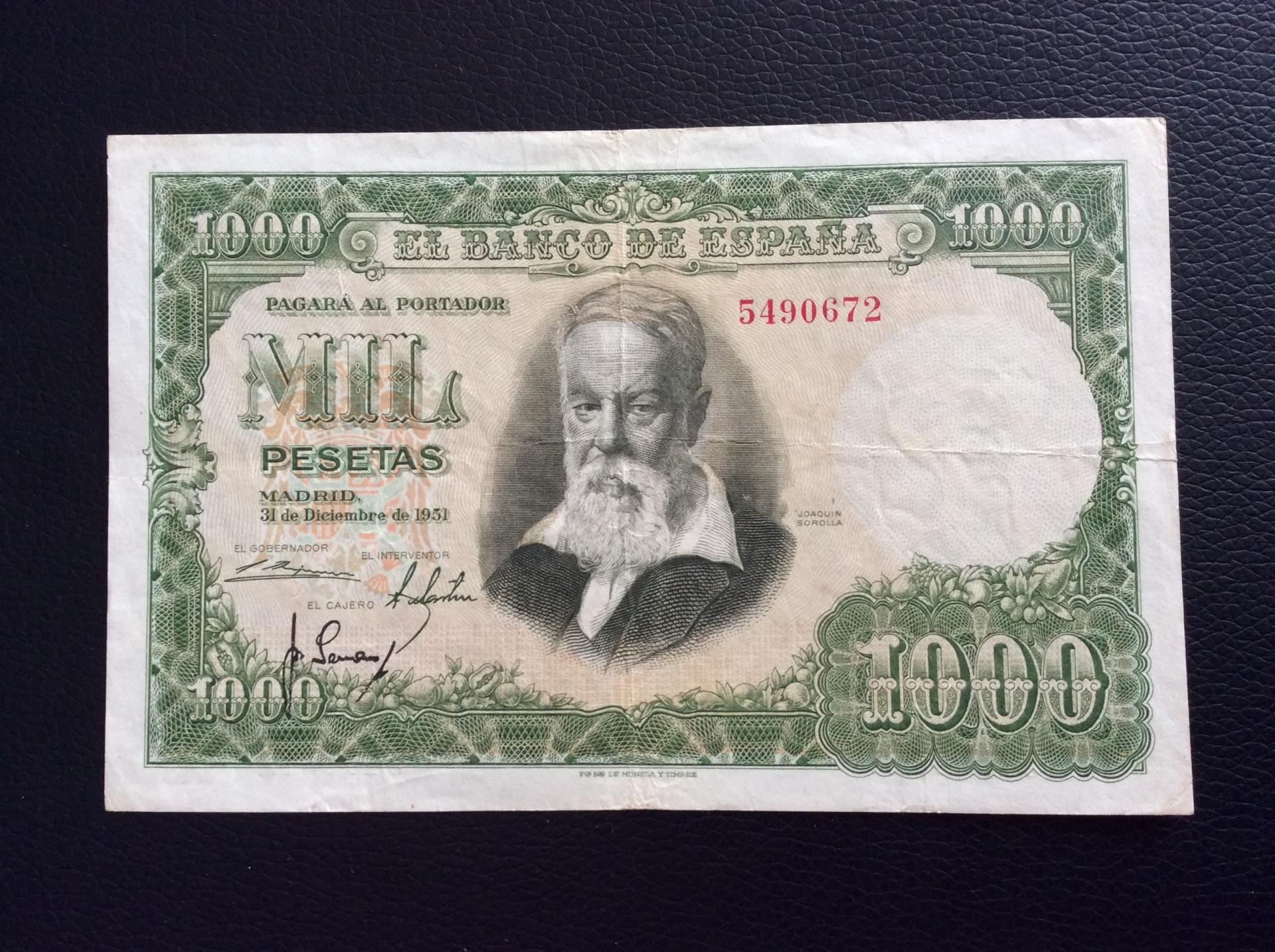 1000 PESETAS 1951 - SIN SERIE -  SOROLLA
