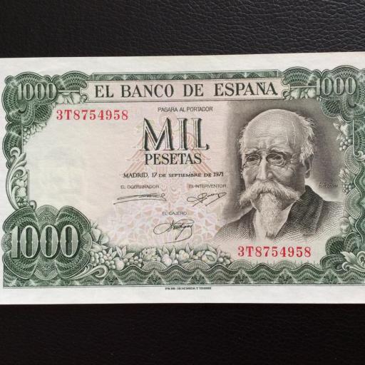 1000 PESETAS 1971 - JOSÉ ECHEGARAY - PLANCHA