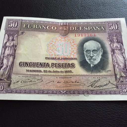 50 PESETAS 1935 - RAMÓN Y CAJAL - EBC+ [2]