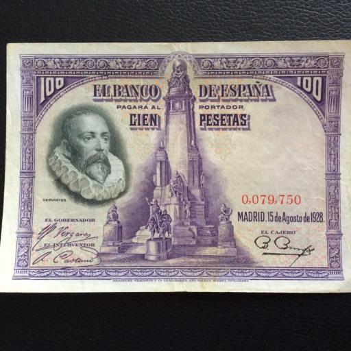 100 PESETAS 1928 - SIN SERIE - CERVANTES