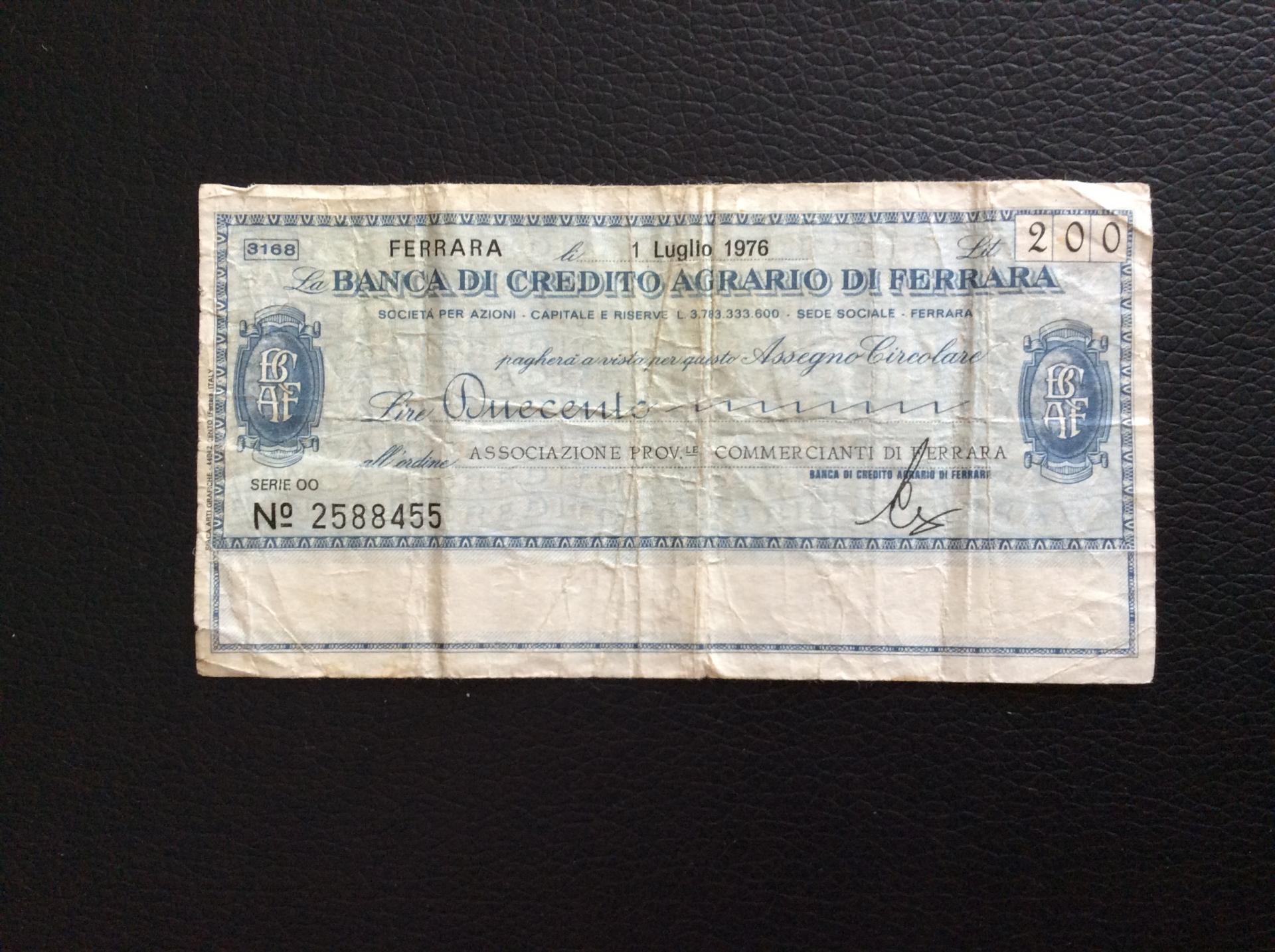 200 LIRAS 1976 - BANCA DI CRÉDITO AGRARIO DI FERRARA - ITALIA