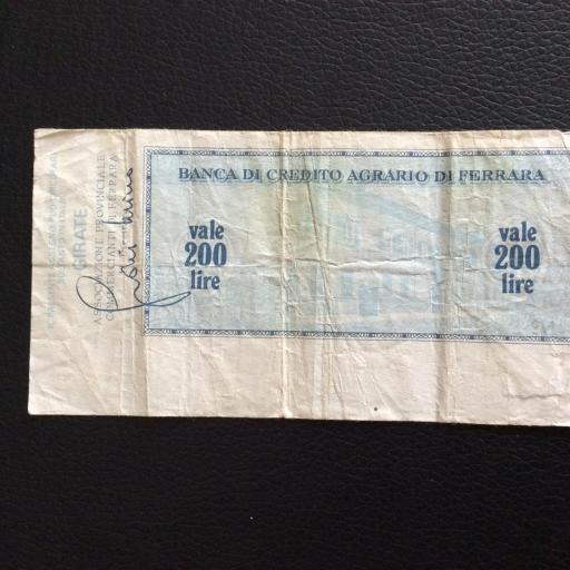 200 LIRAS 1976 - BANCA DI CRÉDITO AGRARIO DI FERRARA - ITALIA [1]