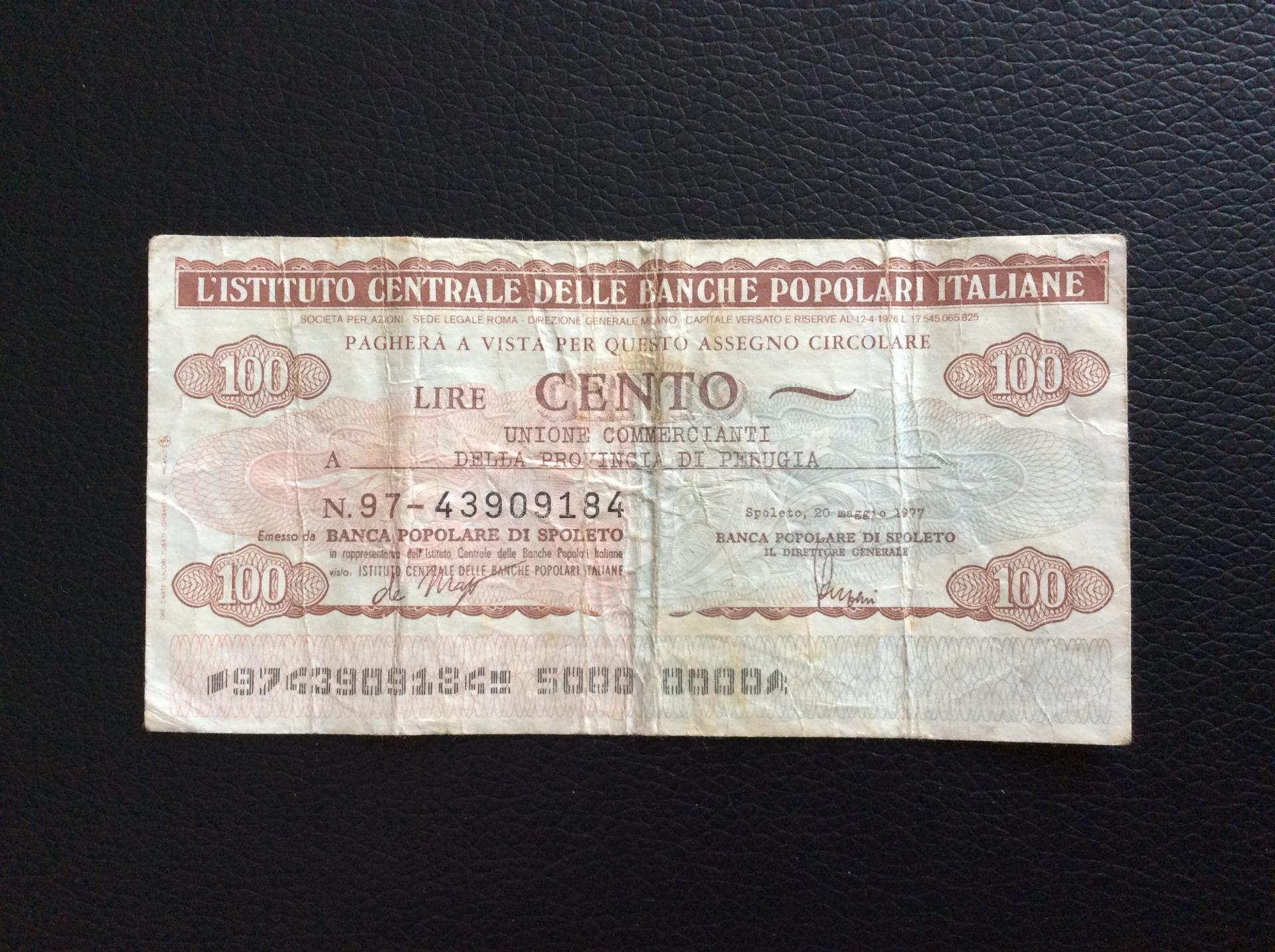 100 LIRAS 1977 - BANCHE POPOLARI ITALIANE