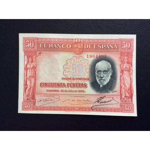 50 PESETAS 1935 - RAMÓN Y CAJAL - ROJO
