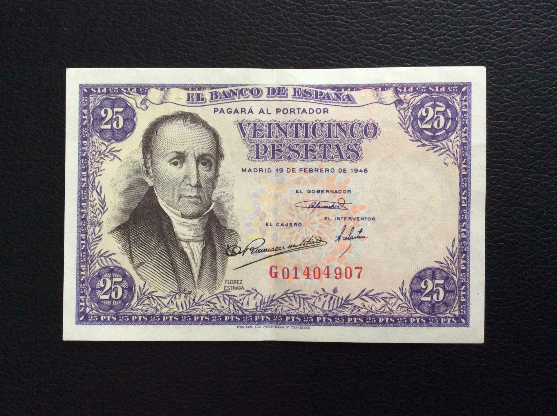 25 PESETAS 1946 - FLÓREZ ESTRADA