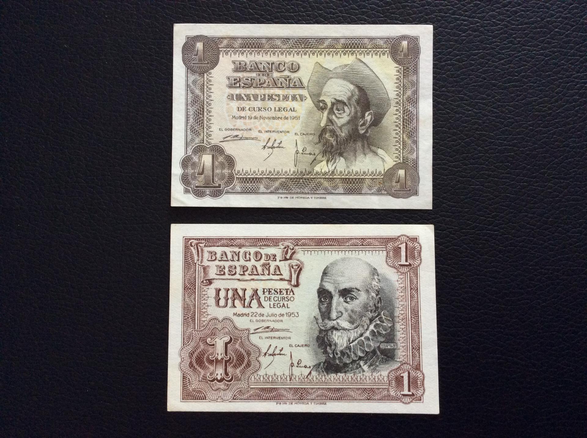 1 PESETA 1951 + 1953 - QUIJOTE Y SANTA CRUZ - PLANCHA