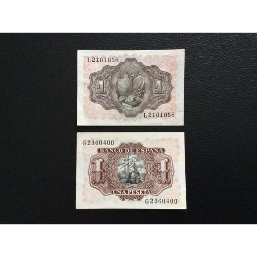 1 PESETA 1951 + 1953 - QUIJOTE Y SANTA CRUZ - PLANCHA [1]