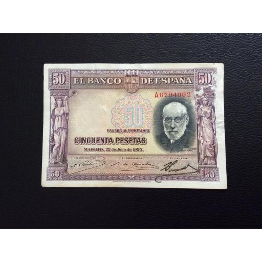 50 PESETAS 1935 - SERIE A - RAMÓN Y CAJAL