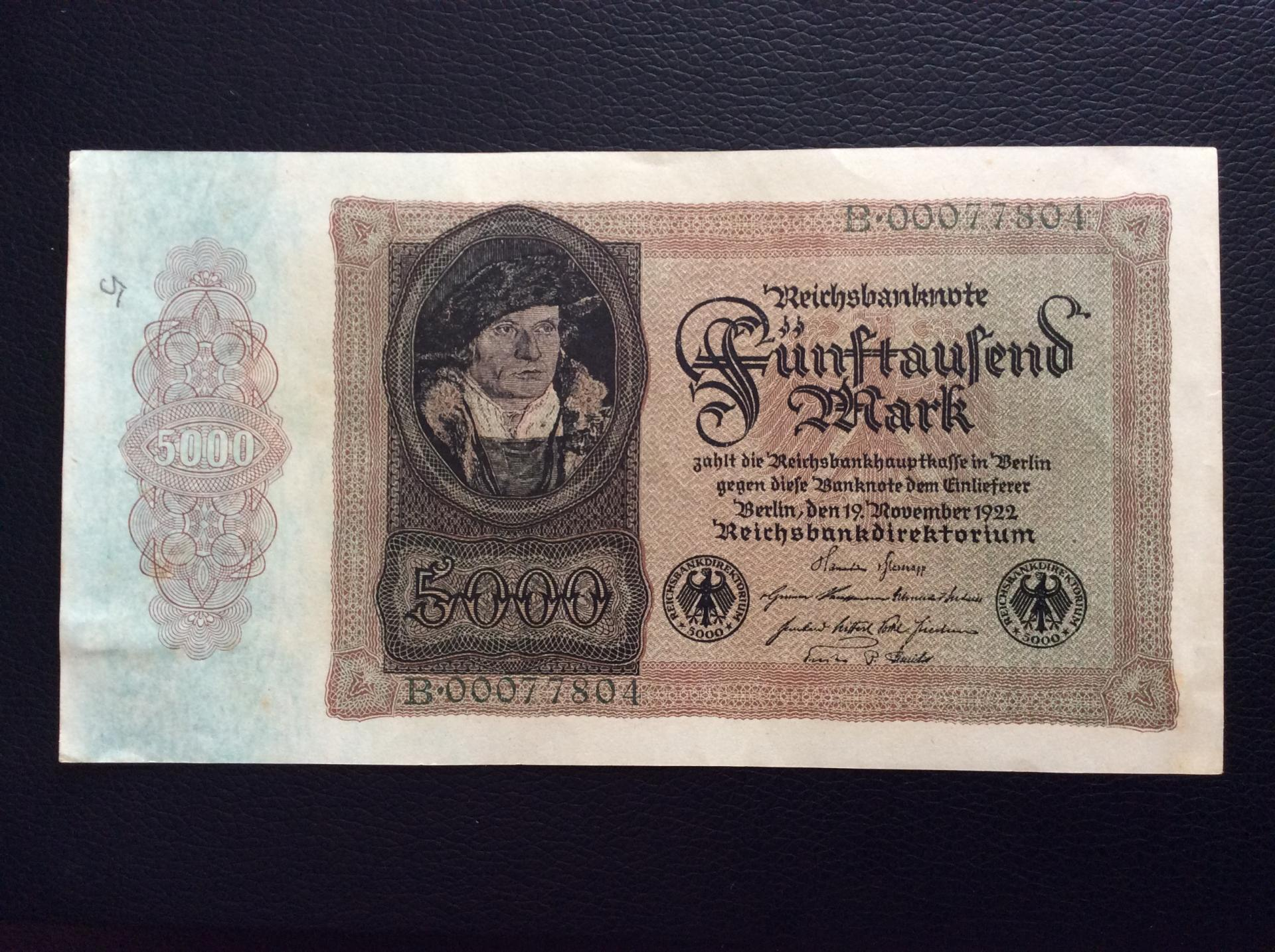 5.000 MARK 1922 - BERLÍN ALEMANIA - REICHSBANKNOTE