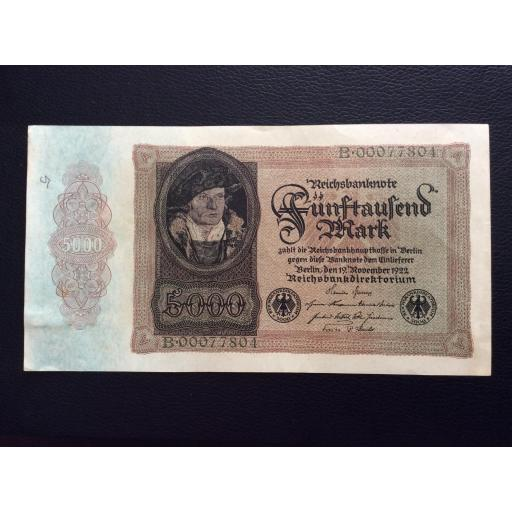 5.000 MARK 1922 - BERLÍN ALEMANIA - REICHSBANKNOTE