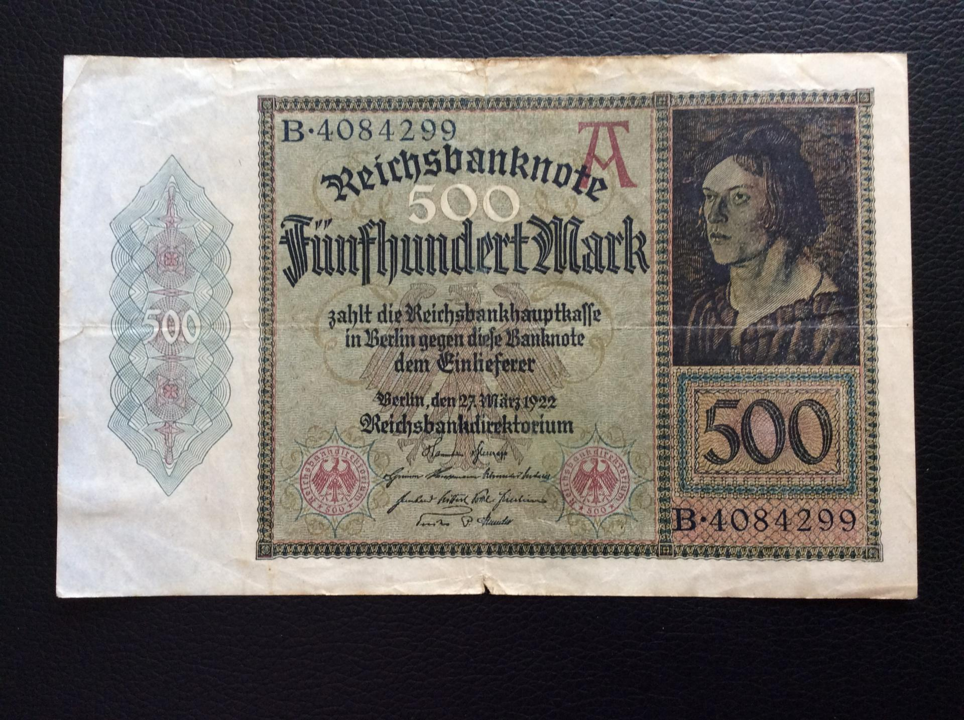500 MARK 1922 - BERLÍN ALEMANIA - REICHSBANKNOTE
