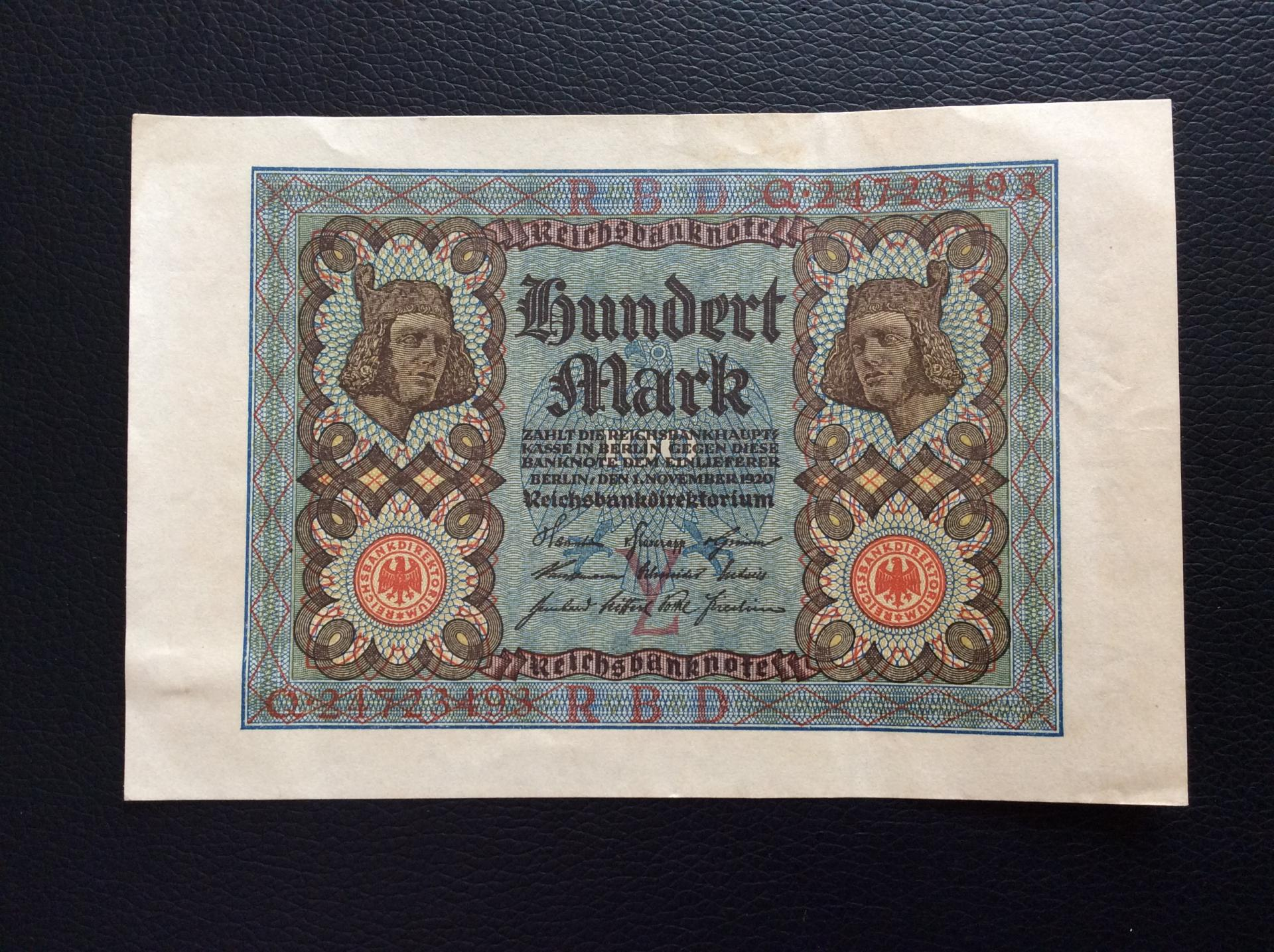 100 MARK 1920 - BERLÍN ALEMANIA - REICHSBANKNOTE