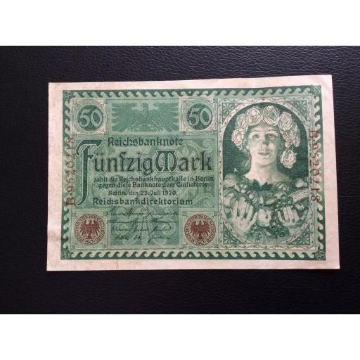 50 MARK 1920 - BERLÍN ALEMANIA - REICHSBANKNOTE