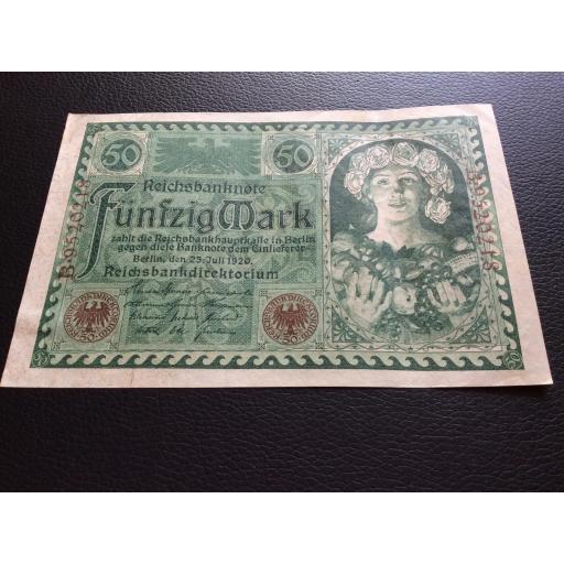 50 MARK 1920 - BERLÍN ALEMANIA - REICHSBANKNOTE  [2]