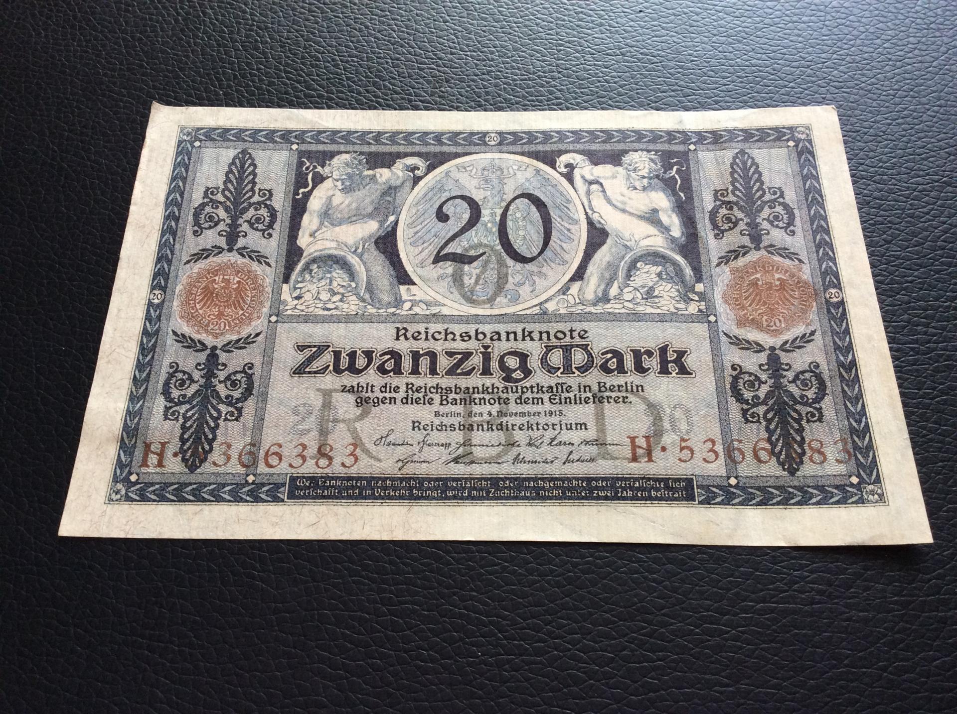 20 MARK 1915 - BERLÍN ALEMANIA - REICHSBANKNOTE