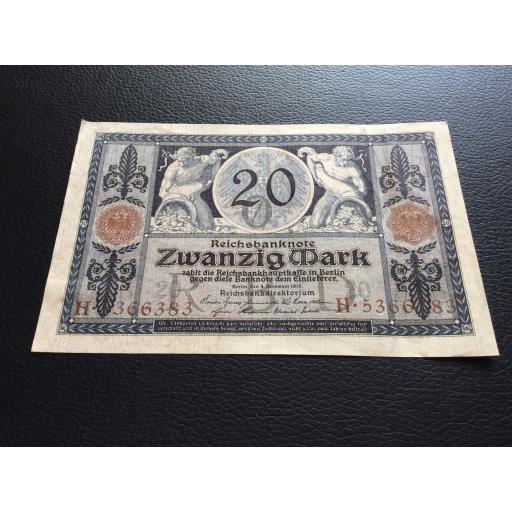 20 MARK 1915 - BERLÍN ALEMANIA - REICHSBANKNOTE