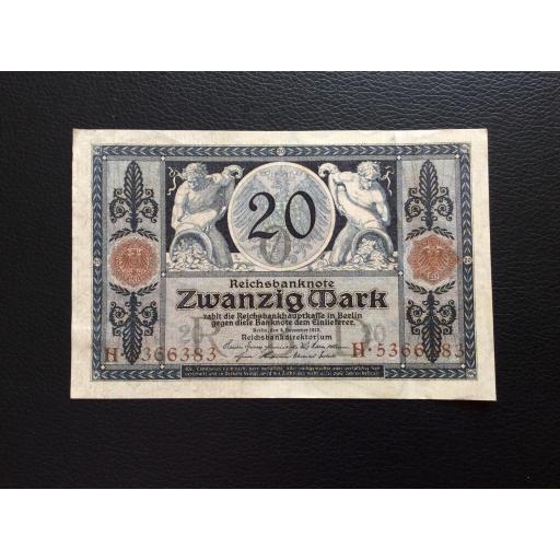 20 MARK 1915 - BERLÍN ALEMANIA - REICHSBANKNOTE [1]