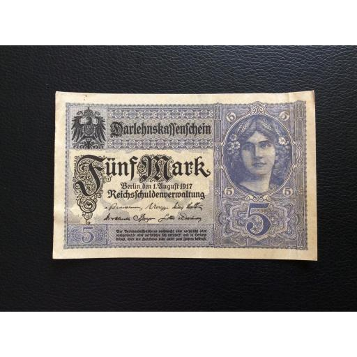 5 MARK 1917 - BERLÍN ALEMANIA - REICHSBANKNOTE