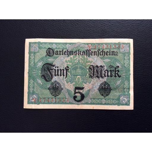 5 MARK 1917 - BERLÍN ALEMANIA - REICHSBANKNOTE [1]