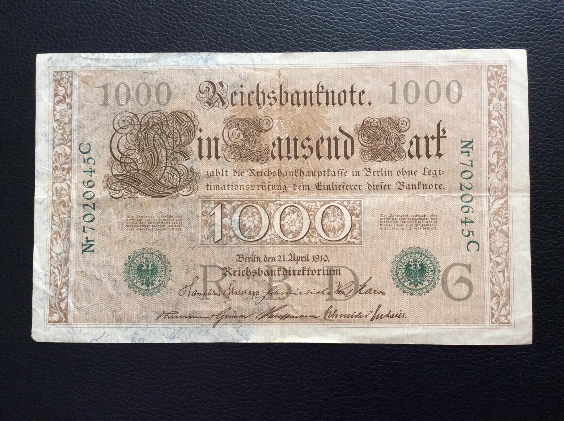 1000 MARK 1910 - BERLÍN ALEMANIA - REICHSBANKNOTE - SELLO VERDE