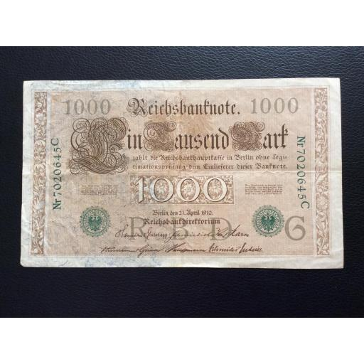 1000 MARK 1910 - BERLÍN ALEMANIA - REICHSBANKNOTE - SELLO VERDE