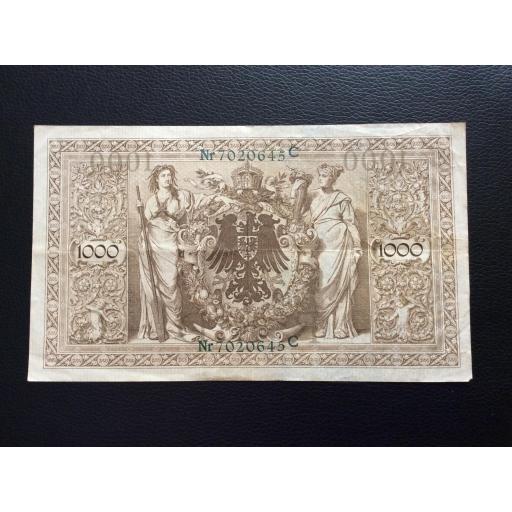 1000 MARK 1910 - BERLÍN ALEMANIA - REICHSBANKNOTE - SELLO VERDE [1]