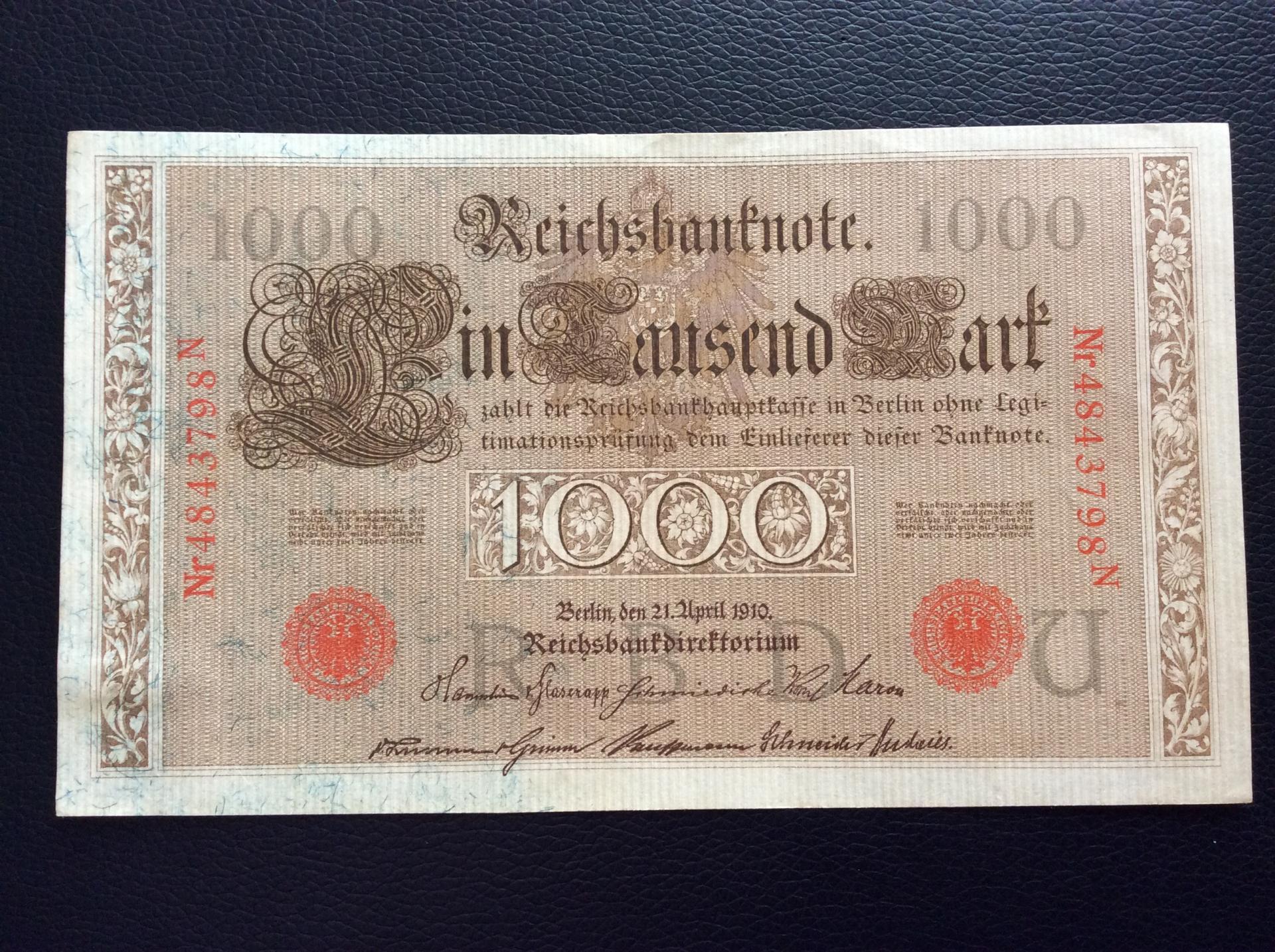 1000 MARK 1910 - BERLÍN ALEMANIA - REICHSBANKNOTE
