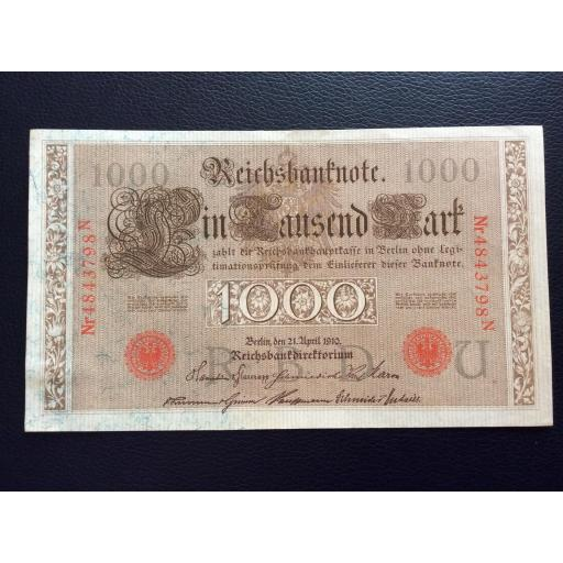 1000 MARK 1910 - BERLÍN ALEMANIA - REICHSBANKNOTE